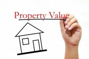 Property Value - House with text and male hand with pen